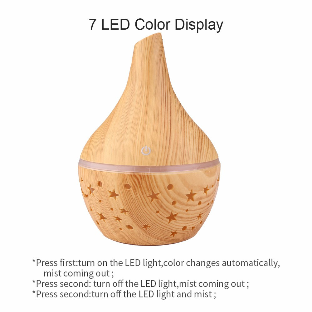 300ML Electric Led Oil Essential Aroma Diffuser and Air Purifier - Light Wood Pattern