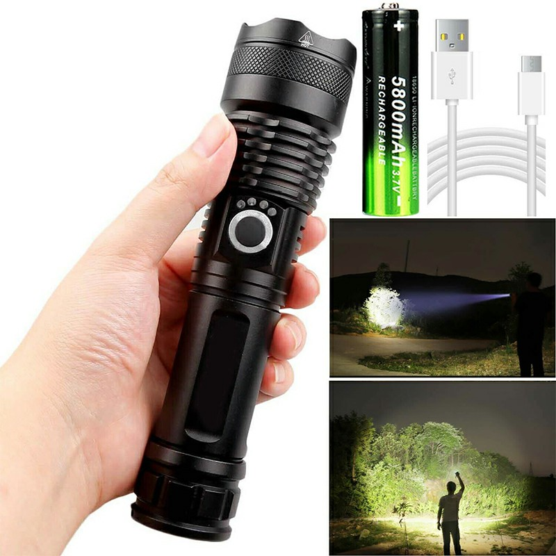 Waterproof Super Powerful Flashlight XHP50 LED Zoomable 5 Lighting Modes