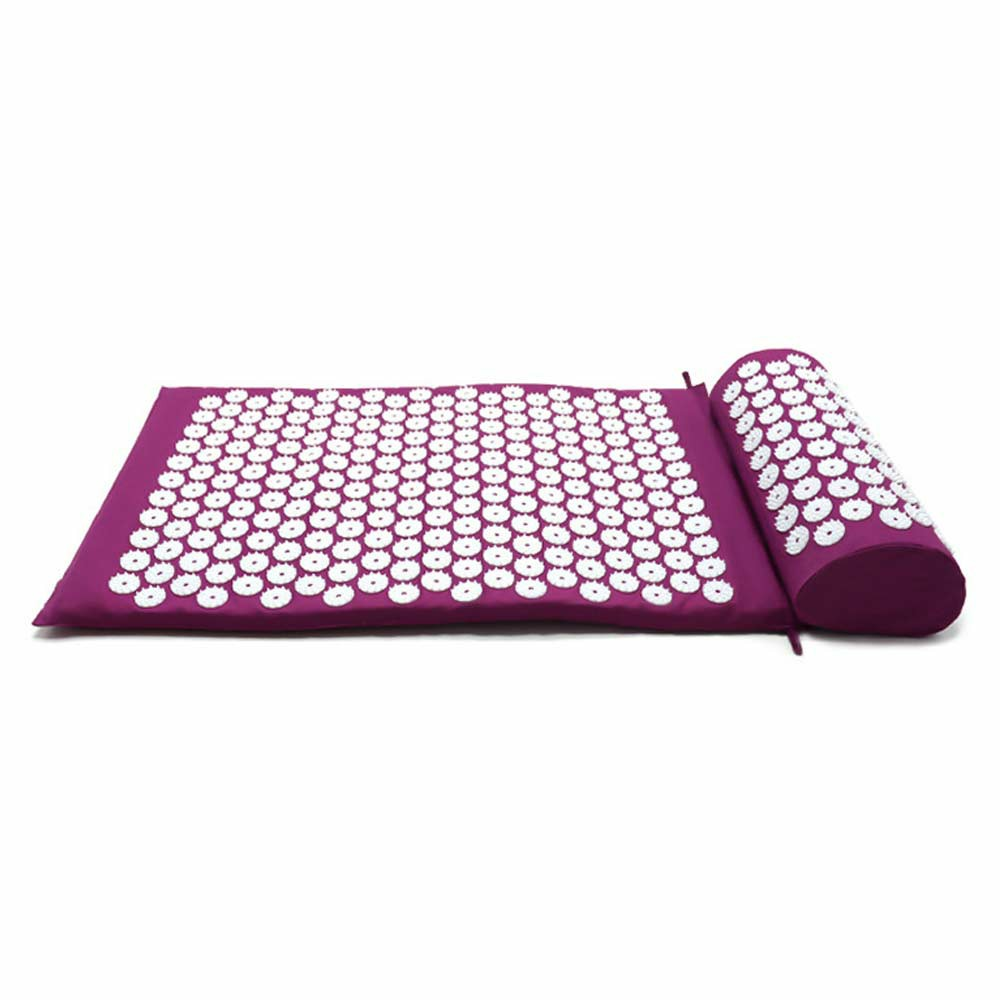 Yoga Cushion Acupressure Massage Mat with Pillow and Travel Bag - Purple