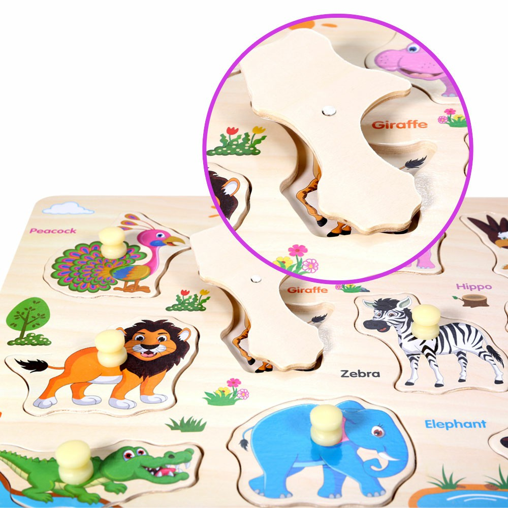 Wooden Animal Letter Puzzle Jigsaw Baby Early Learning Toys - S907