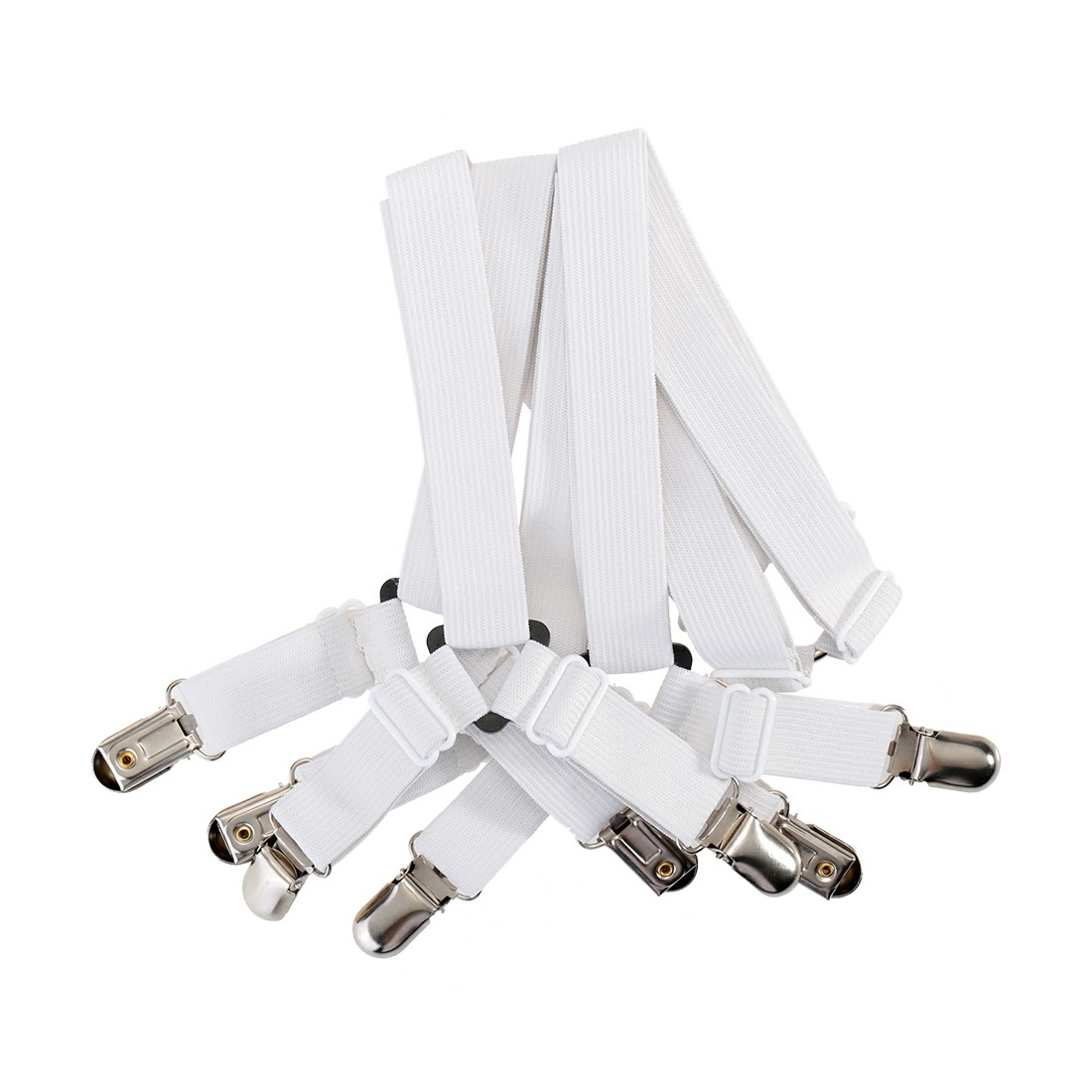 Triangle Sheet Straps Adjustable Bed Sheet Fastener Suspenders Grippers Corner Holder - White
