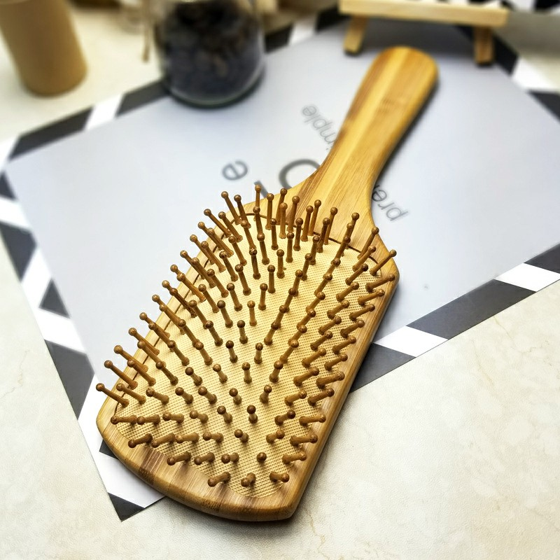 Bamboo Handle Airbag Massage Comb - Square
