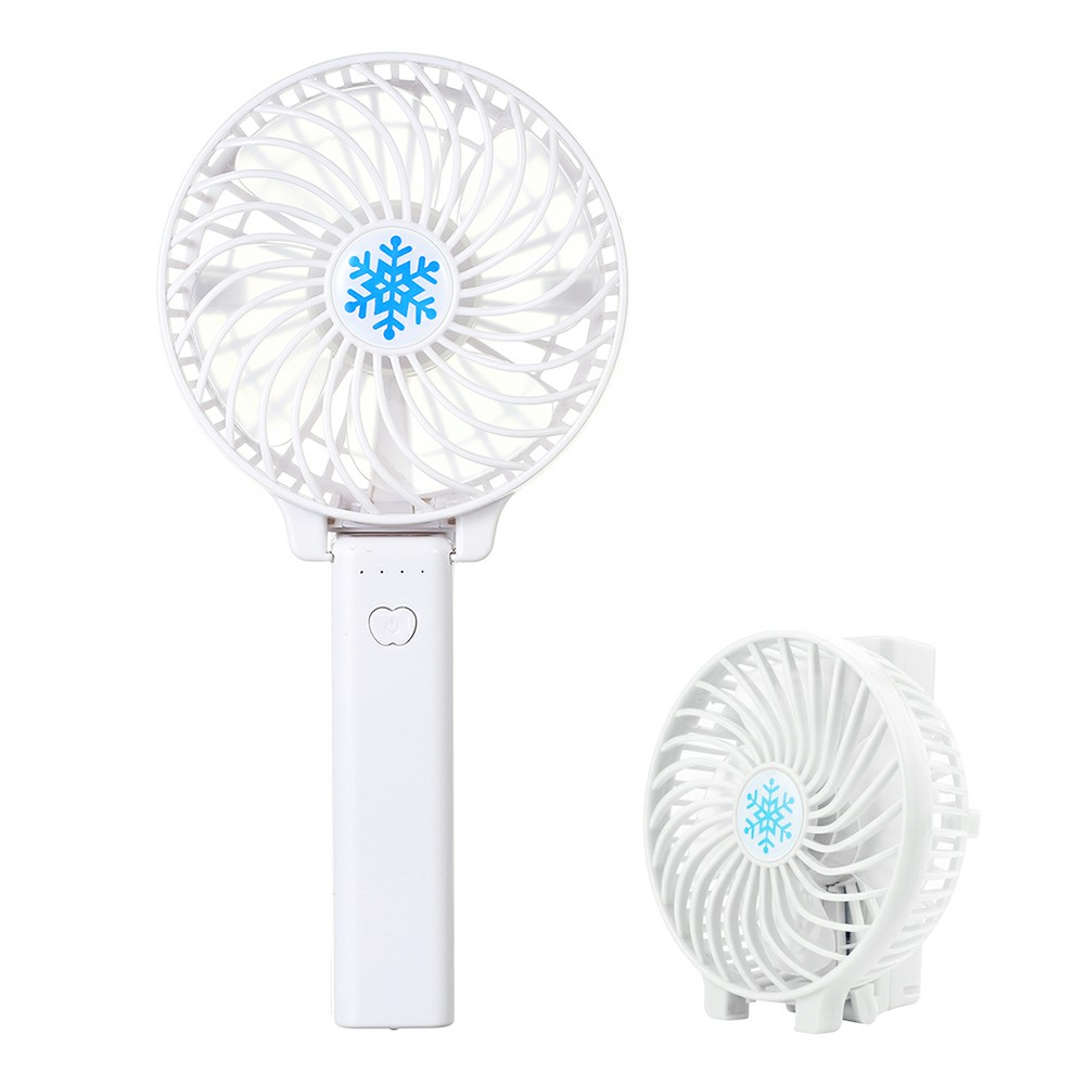 Handheld Mini USB Fan Built-in Battery Foldable Table Cooler - White