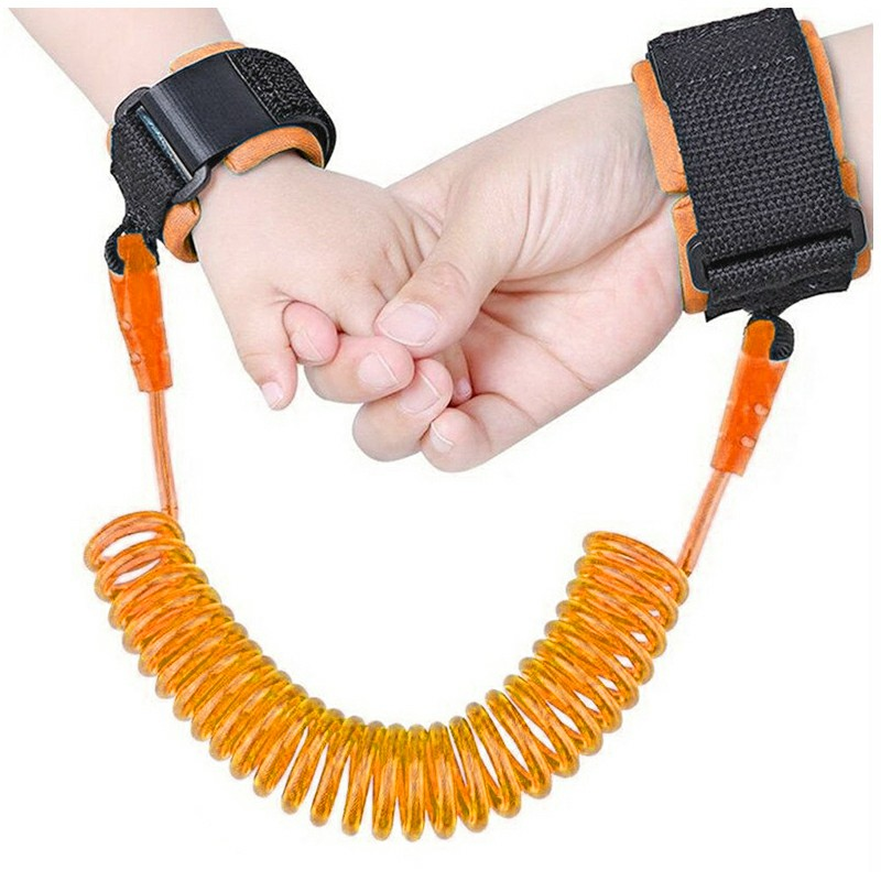 1.5M Kids Anti-lost Safety Leash Wrist Link Harness Strap Rope - Orange