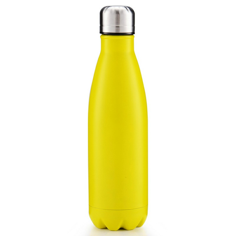 500ml Double Wall Stainless Steel Vacuum Insulated Water Bottle - Matte Yellow