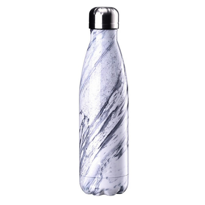 500ML Marble Pattern Water Flask Stainless Steel Insulated Bottle - White