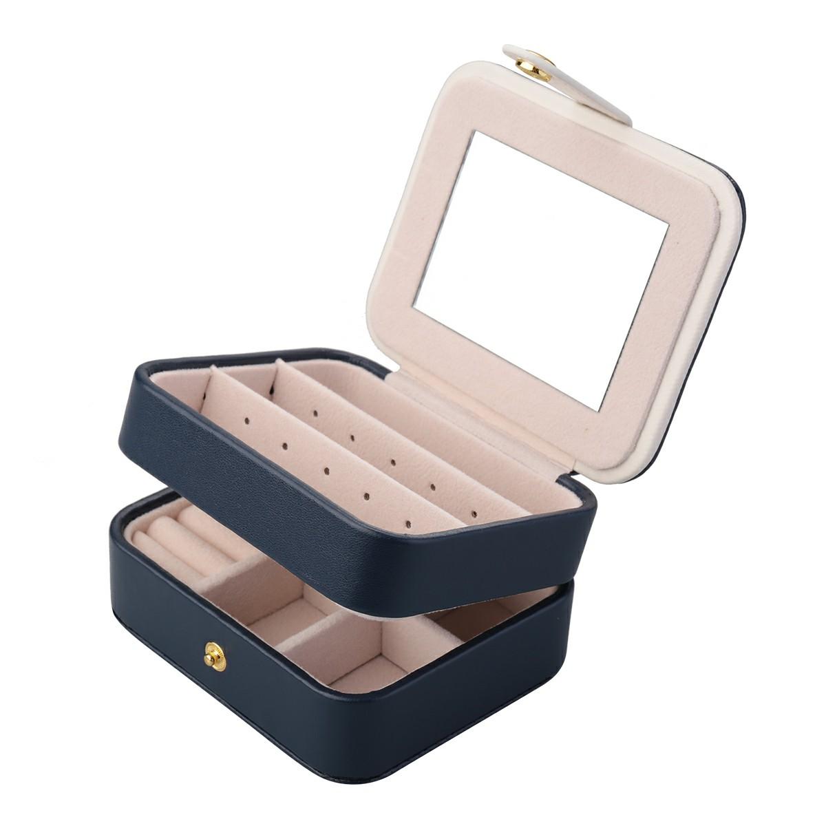 PU Small Jewelry Box Multilayer Travel Jewelry Box - Dark Blue