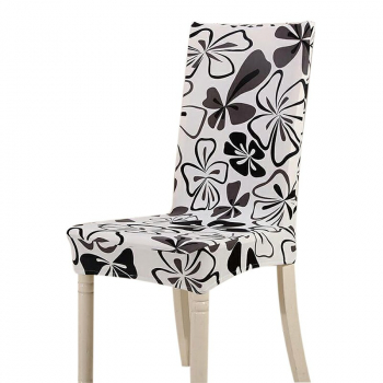 Removable Stretch Elastic Short Seat Chair Cover for Dining Room - Black Butterfly