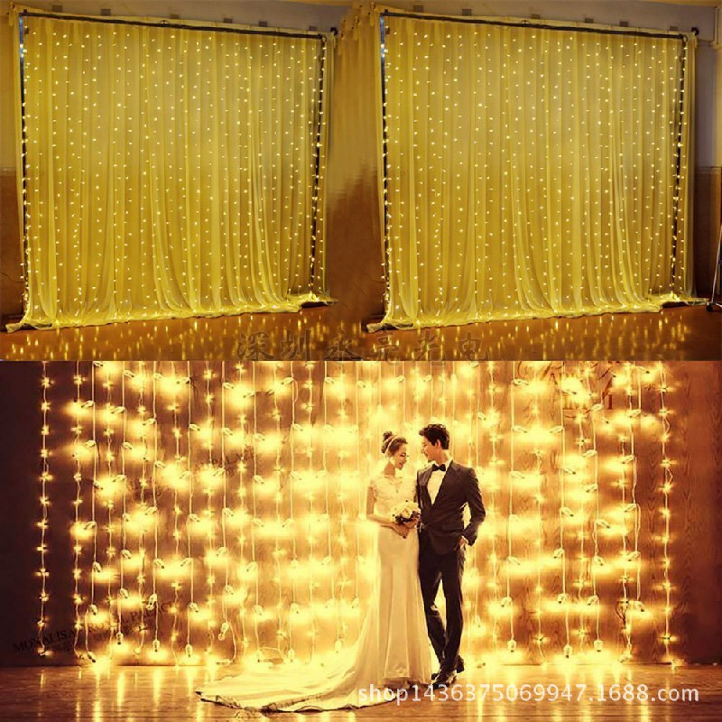 300 LEDs Curtain Fairy Lights String Hanging Wall Lights 8 Modes - Warm Light