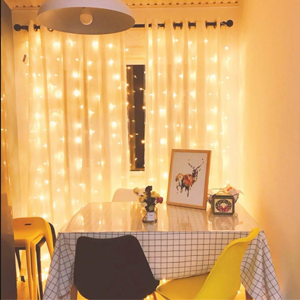 LED Curtain Fairy Lights String Backdrop Wedding Christmas Party Decor - Warm Light