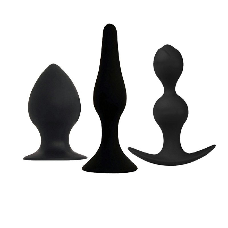 3pcs Anal Plug Massager Silicone Bottom Men Women Sex Toy