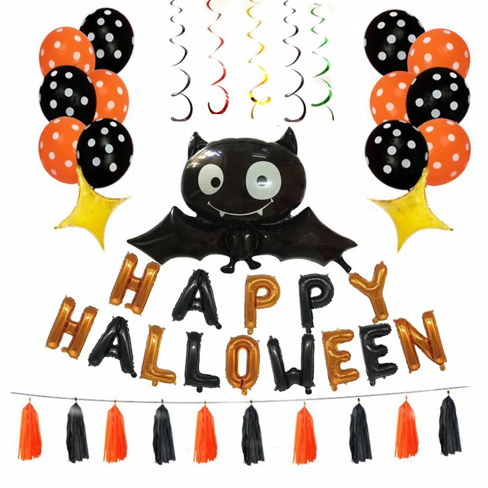 Halloween Set of Bat Balloon Polka Dot Latex Balloons Letter Tassel Four-pointed Star
