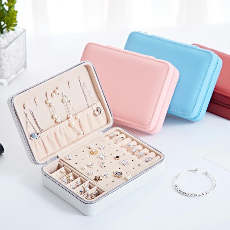 Creative Small Jewelry Box Multilayer Jewelry Box PU Material - Pink