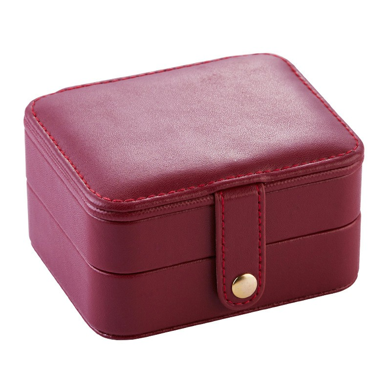 Creative Small Jewelry Box Multilayer Jewelry Box Leather Earrings Storage Box - Pink