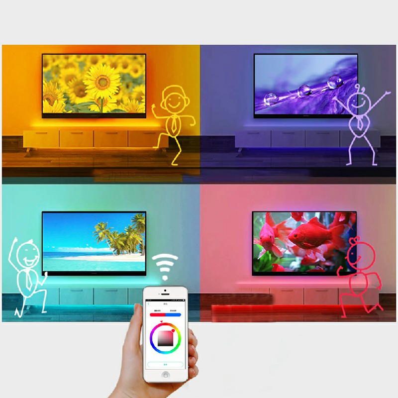 RGB LED Strip Lights Bluetooth Music USB Powered TV Back Lights