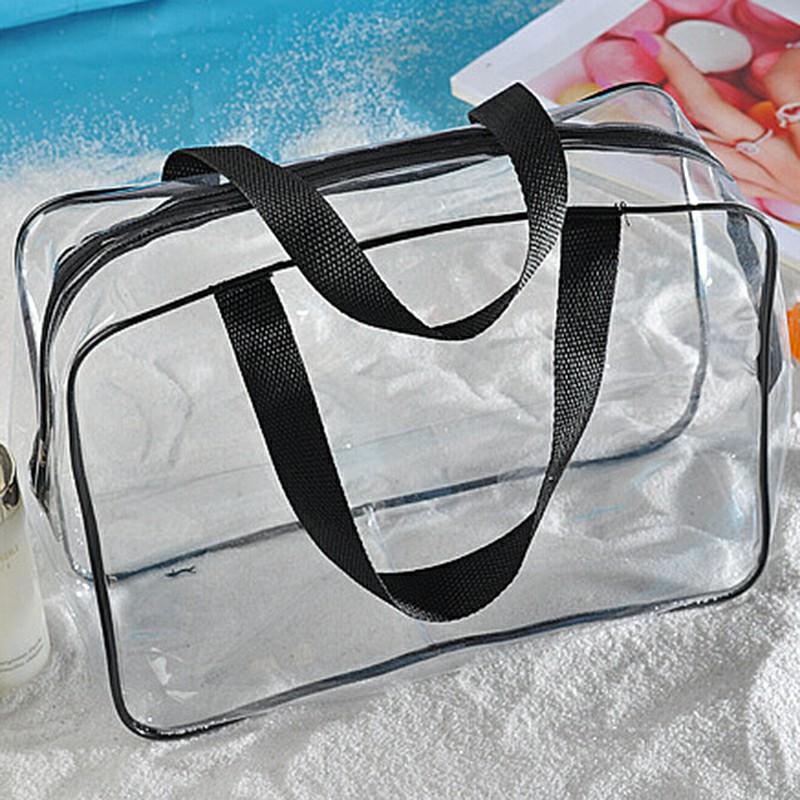 Transparent  Travel Cosmetic Bag PVC Zipper Makeup Bags - Black