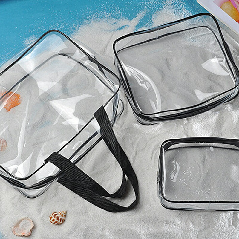 Travel Transparent Cosmetic Bag PVC Zipper Clear Makeup Bags Wash Bag