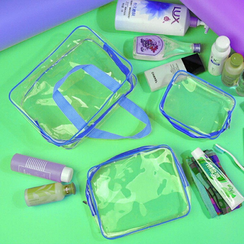 Transparent  Travel Cosmetic Bag PVC Zipper Makeup Bags - Blue