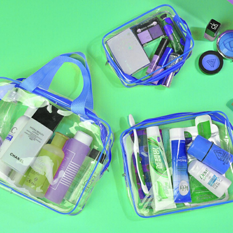 Travel Transparent Cosmetic Bag PVC Zipper Clear Makeup Bags Wash Bag