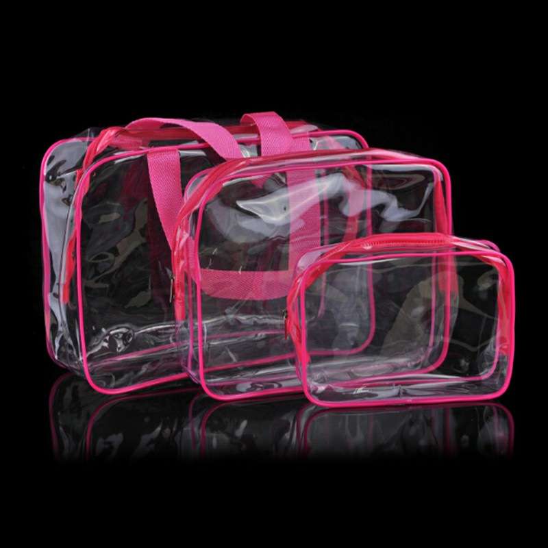 Transparent  Travel Cosmetic Bag PVC Zipper Makeup Bags - Rose Red