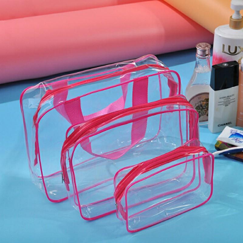 Transparent  Travel Cosmetic Bag PVC Zipper Makeup Bags - Rose Red