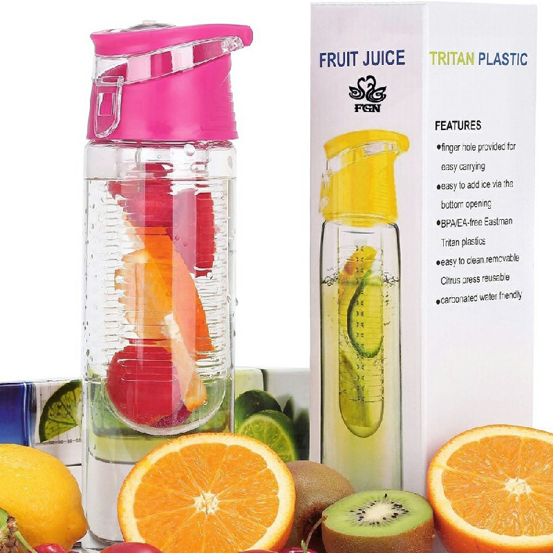 800ML Fruit Cup Infuser Portable Flip Lid Plastic Bottle - Pink