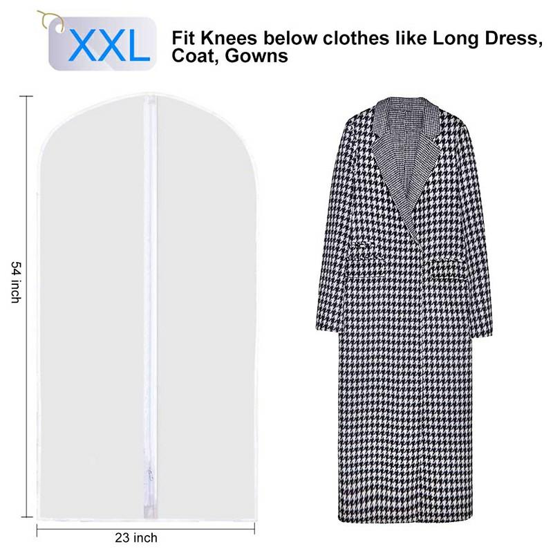5 pcs Washable Clear Lightweight Zipper Garment Dustproof Nonwoven Bags  - XXL