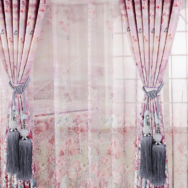 Large Curtain Tie Backs Beaded Ball Tassel Rope Curtain Tie Buckle - Grey