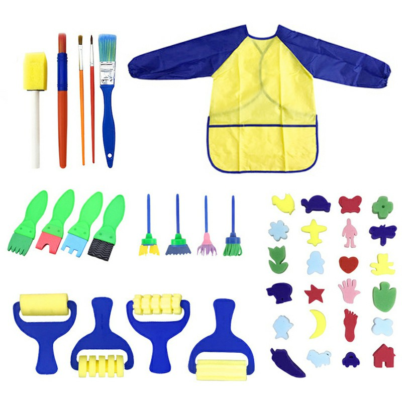 42 pcs Kids Paint Brushes Sponge Painting Brush Tool Set - Blue