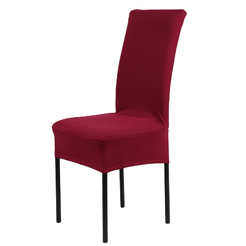 Universal  Stretch Removable Dinning Room Office Hotel Chair Cover - Wine Red