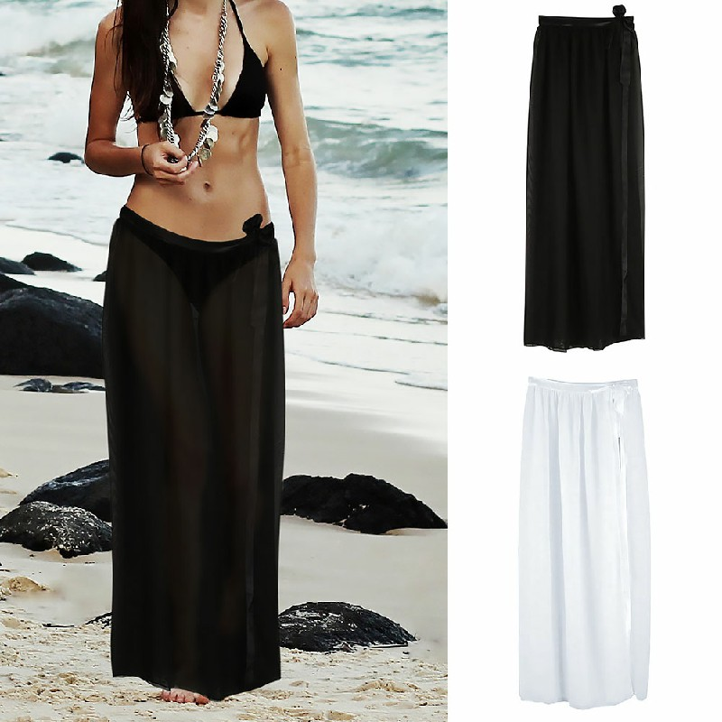 Bikini Cover Up Wrap Women Swimwear Sheer Beach Wrap Skirt Sarong - Black