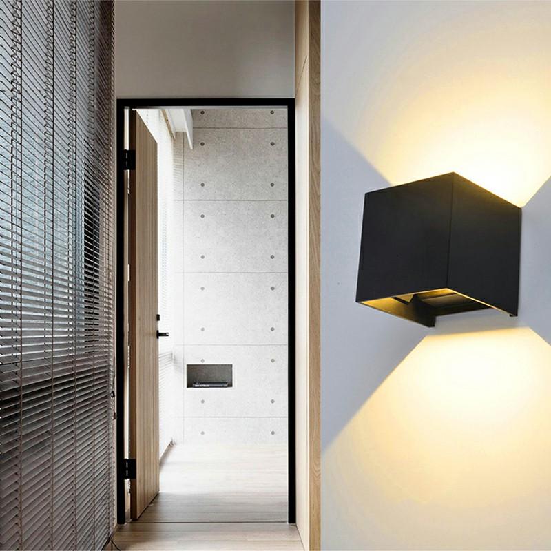 LED Wall Light Outdoor Indoor UP-down Spotlight - Black Shell Warm Light