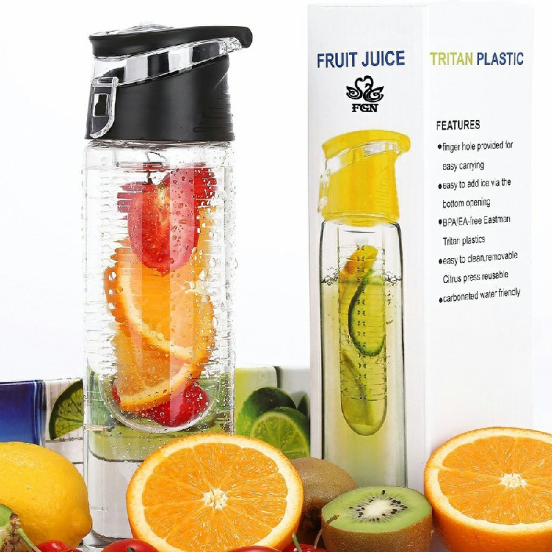 800ML Portable Infuser Water Bottle Sport Lemon Cup with Flip Lid - Black