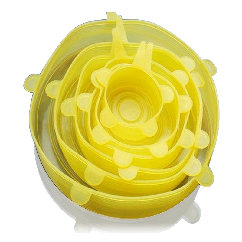 6pcs Flexible Silicone Stretch Lids Reusable Food Keep Fresh Saver  - Yellow
