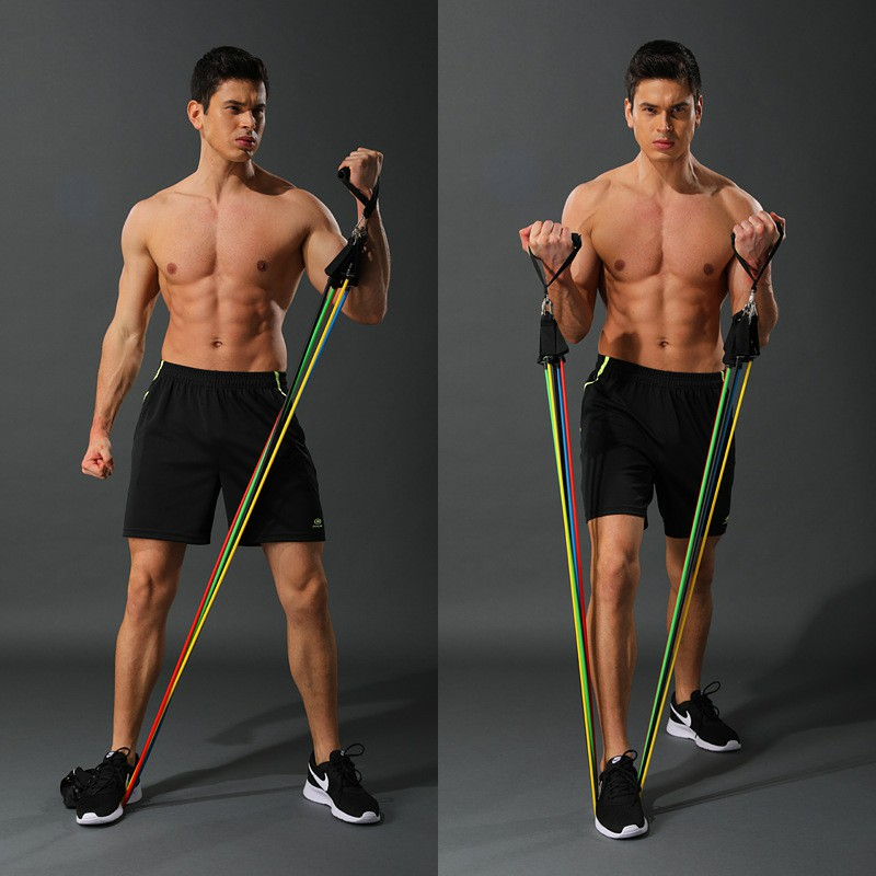 11 Piece Resistance Band Set  Crossfit  Exercise Yoga Tools