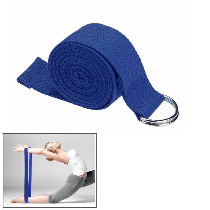 D-Ring Cotton Yoga Stretch Strap Training Belt Fitness Equipment - Dark Blue