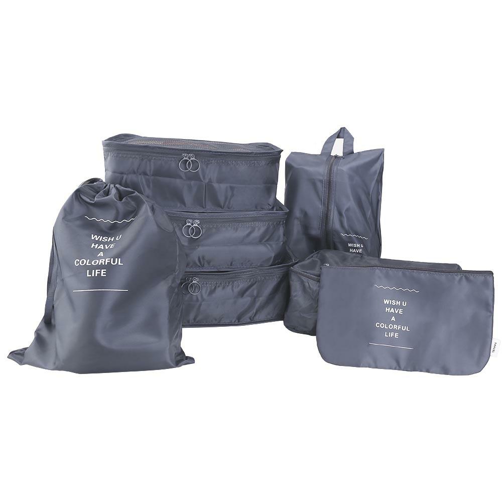 7pcs Waterproof Travel Storage Bags Luggage Organiser - Grey