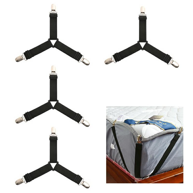 4pcs Triangle Bed Sheet Mattress Holder and Fastener - Black