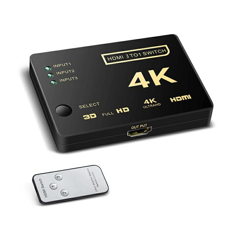 3 Port Mini HDMI Switcher Splitter 4K*2K 3D with Remote Control