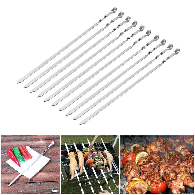 10pcs Extra Long Steel BBQ Meat Vegetable Kebab Skewers