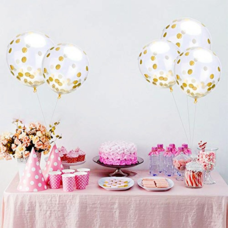 Bunting Banner and Foil Latex Confetti Round Sequins Balloon - White