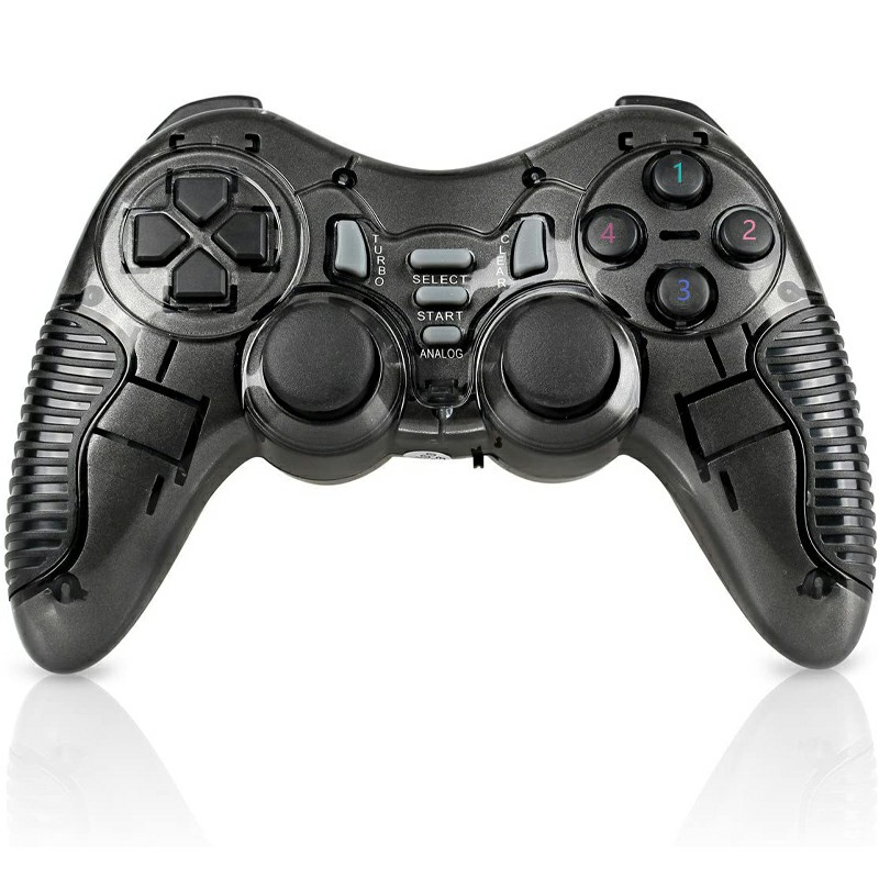 6 in 1 Wireless Vibration Gaming USB Gamepad for TV PS2 PS3 PC - Black