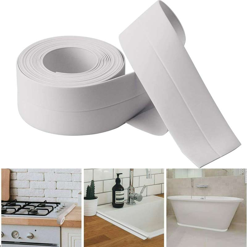 Caulk Tape Strip Bathroom Kitchen Self Adhesive Sealant Tape Edge Sink Wall - White