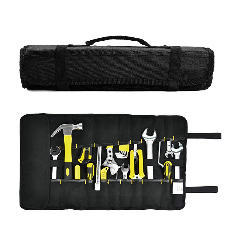 22 Pockets Hardware Tools Roll Bag for Electricians Carpenters - Black