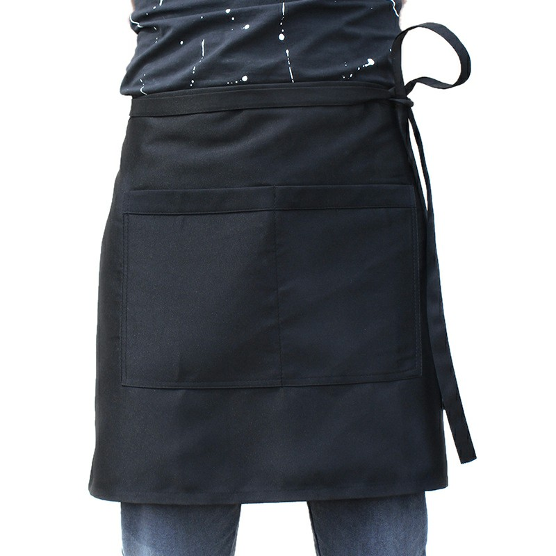 Plain Half Wrist Apron with Twin Double Pockets - Black