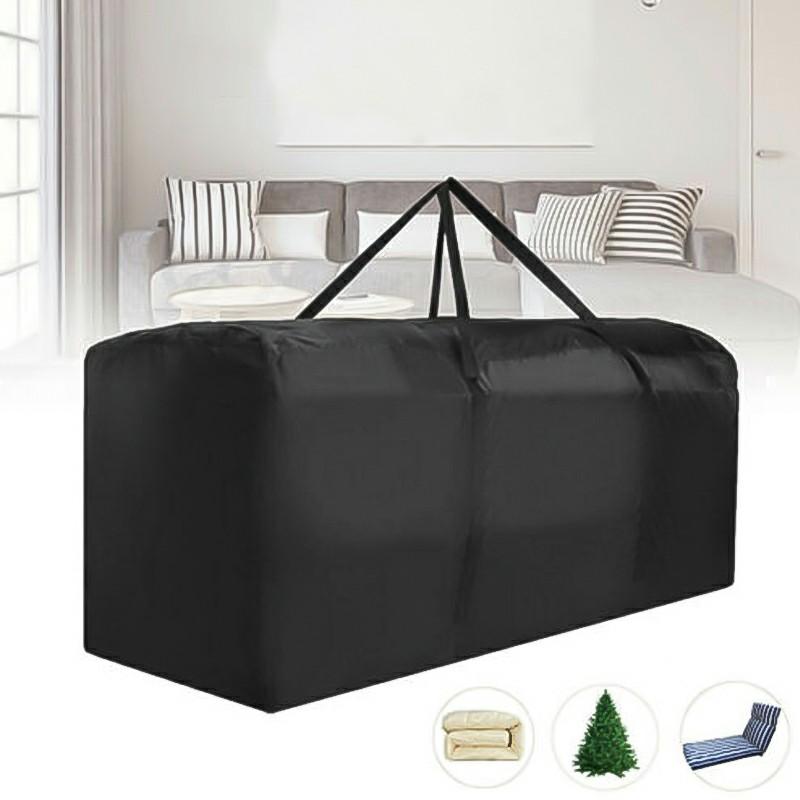 Outdoor Cushion Heavy Duty Waterproof Cover Storage Bag Garden Furniture Covers 173x76x51cm - Black