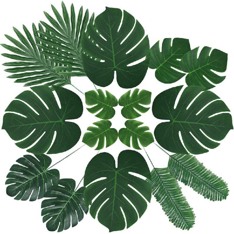 60pcs 6 kinds Tropical Artificial Palm Leaves