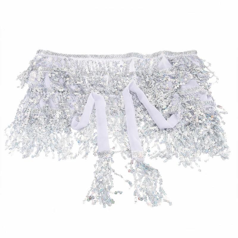 Festival Costume Sequins Tassel Fringe Wrap Skirt - Silver
