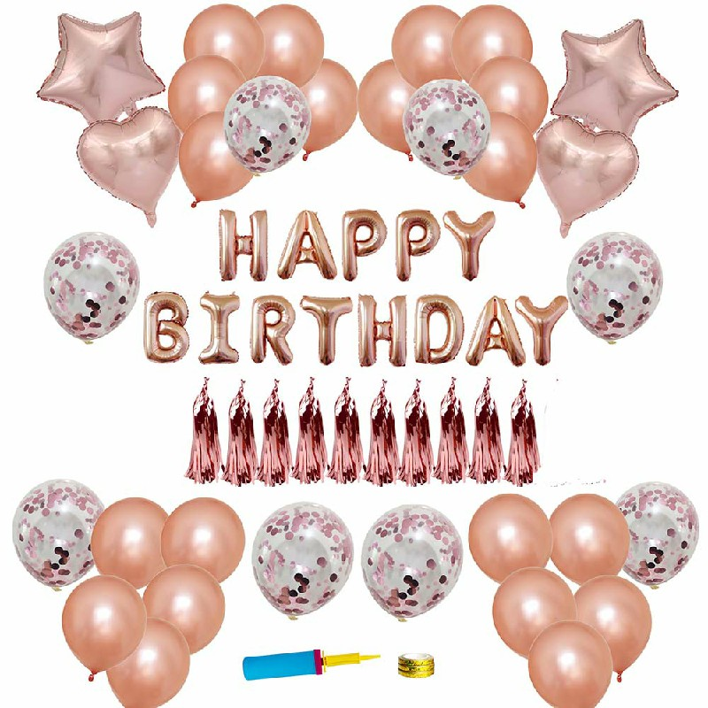 Rose Gold Happy Birthday Bunting Banner Balloons Arch Kit