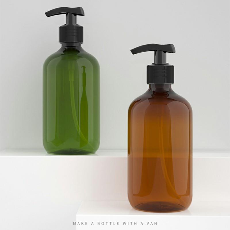 500ml Refillable Empty Bottle Press Pump Liquid Soap Dispenser - Brown